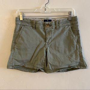 American Eagle Olive Green Midi Chino Shorts 0